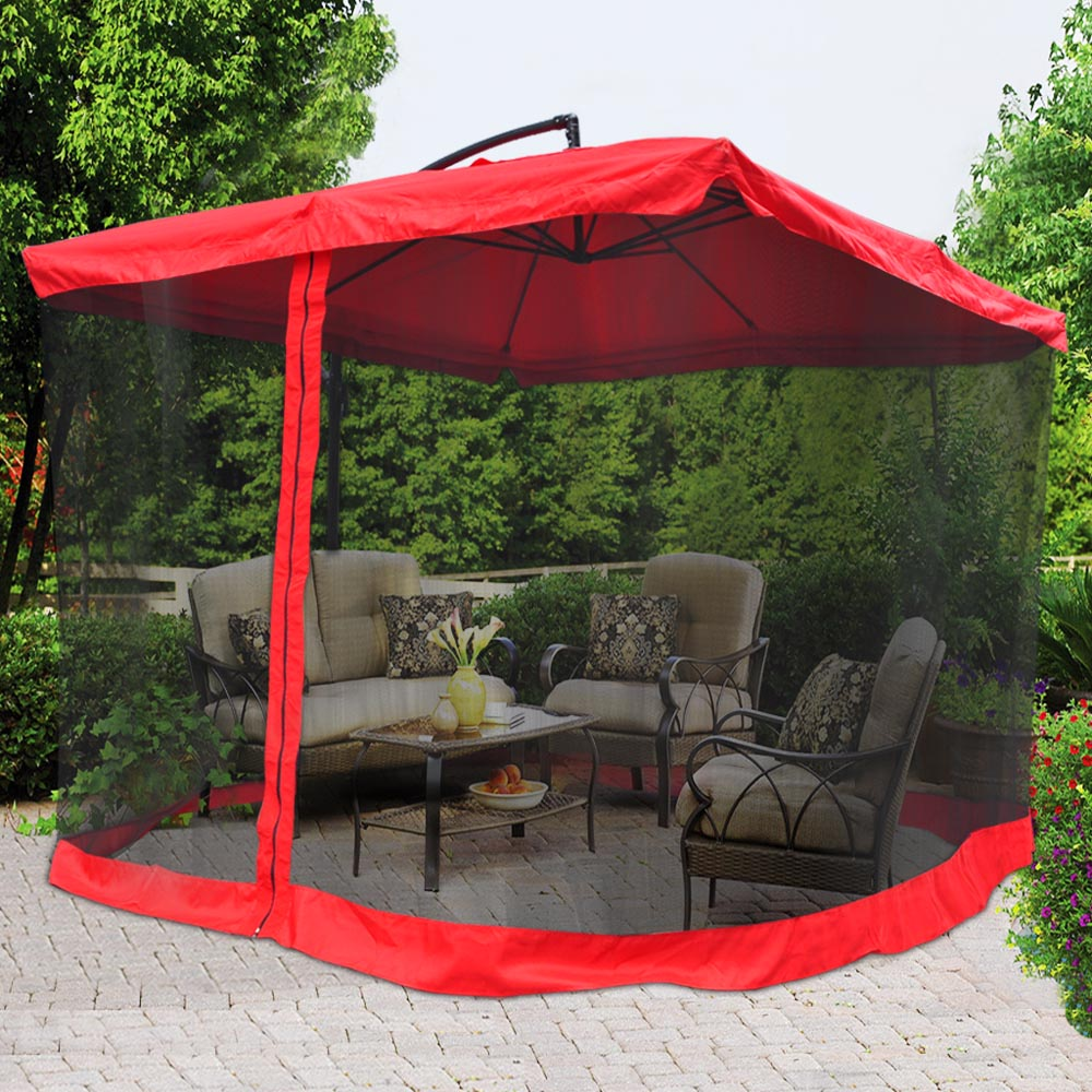 Lovely Yescom 9u0027 Red Outdoor Patio Rotation Offset Umbrella W/ Aluminum Tilt 200g  PA Cover U0026 Mosquito Net   Walmart.com