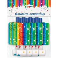 Rainbow Birthday Party Blowers, 8-Count