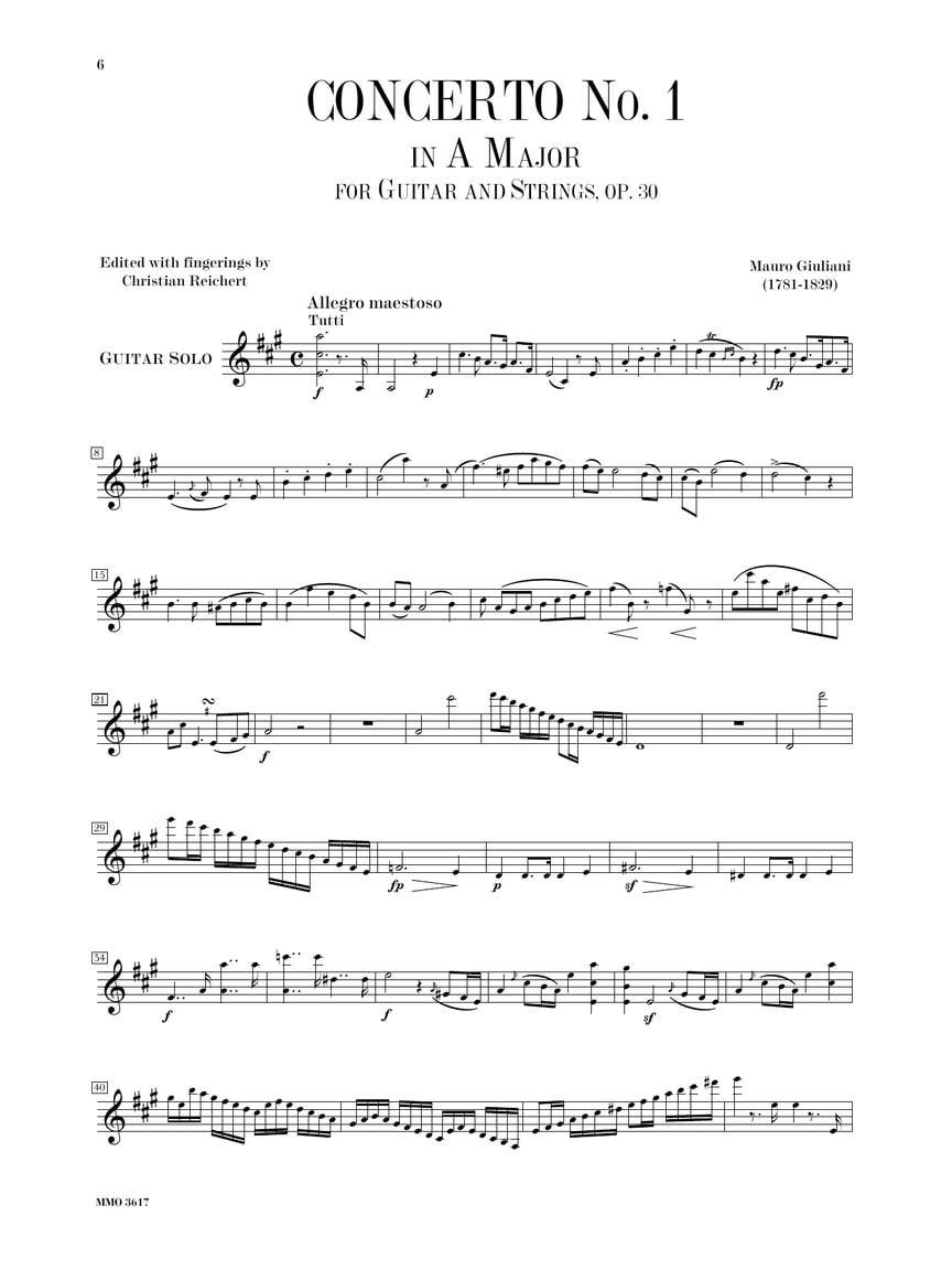 1 in A Major Guitar Concerto No Op 30