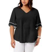 Womens Blouse Plus Ruffle Sleeve Pearl-Trim 3X