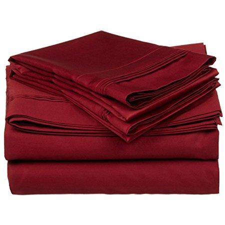 Egyptian Cotton Single - 100% Egyptian Cotton 650 Thread Count, Queen 4-Piece Sheet Set, Deep Pocket, Single Ply, Solid, Burgundy