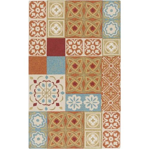 5' x 8' Country Creation Burnt Orange and Sage Green Hand Hooked Area Throw Rug