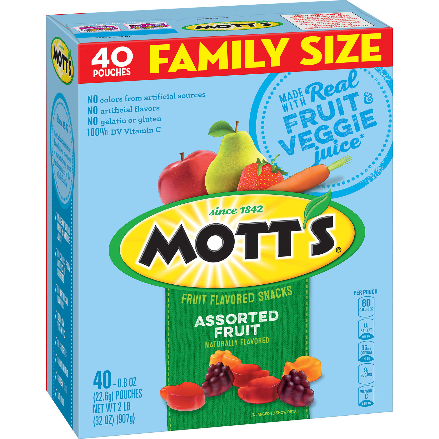 Mott's Medleys Fruit Snacks Family Size 40 Pouches 0.8 oz Each