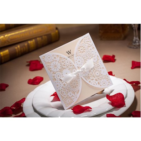 Graceful Laser Cut Lace Hollow Bowknot Wedding Invitations Cards Kits with Tri Fold Printable Paper and Envelopes Celtic Knot Wedding Invitations