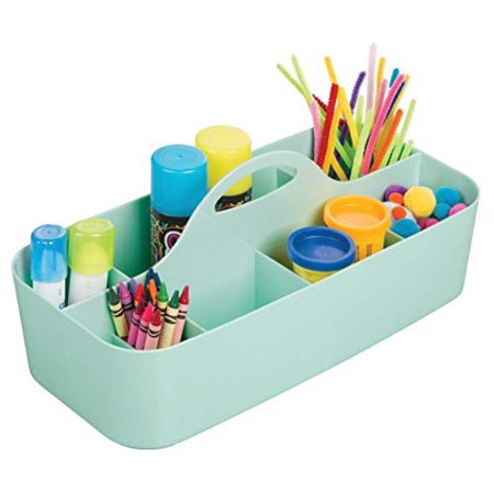 mdesign plastic portable craft storage organizer caddy tote, divided basket bin with handle for craft, sewing, art supplies - holds paint brushes, colored pencils, stickers, glue, x-large - mint green](Michaels Art Supply Store)
