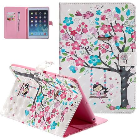 Mini Card Case - iPad Mini 2 Cover, iPad Mini 1 2 3 Case, Allytech 3D Pattern Slim Folio Kickstand Smart Case with Auto Sleep Wake Function Shockproof Cards Holder Wallet Case for Apple iPad Mini 1 2 3, Tree Girl