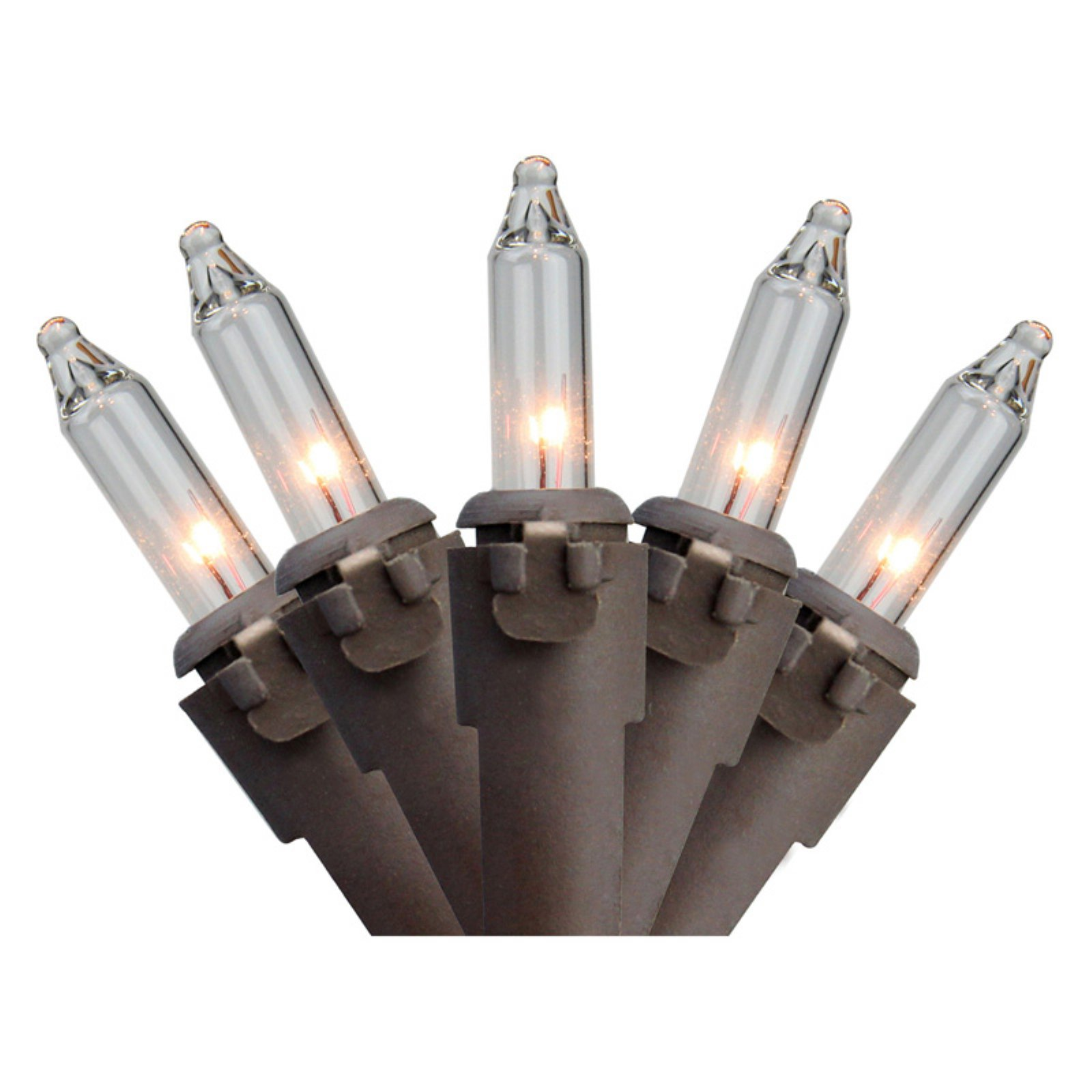 Northlight 300 ct. Mini Clear Lights with Brown Wire 2.5 in. Spacing