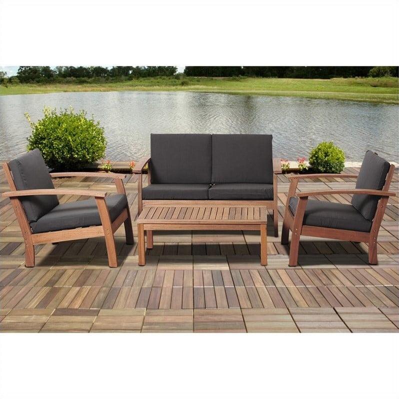 International Home Amazonia 4 Piece Outdoor Sofa Set in Brown