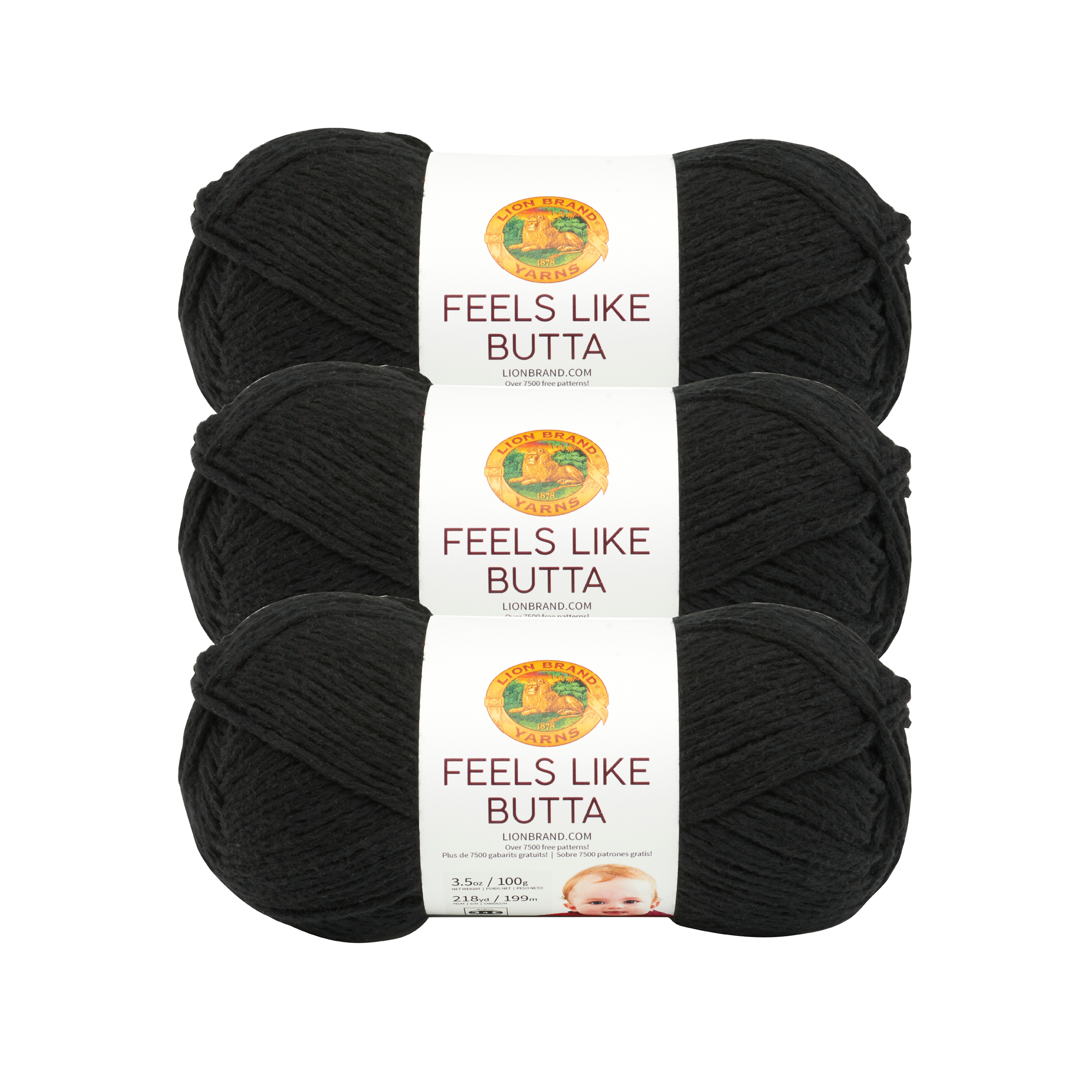 Lion Brand Yarn 215-150D FEELS LIKE BUTTA CHARCOAL 3 Pack Baby Yarn