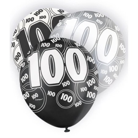 6 Black Sparkle Happy 100th Birthday 12 Pearlized Printed Latex Balloons