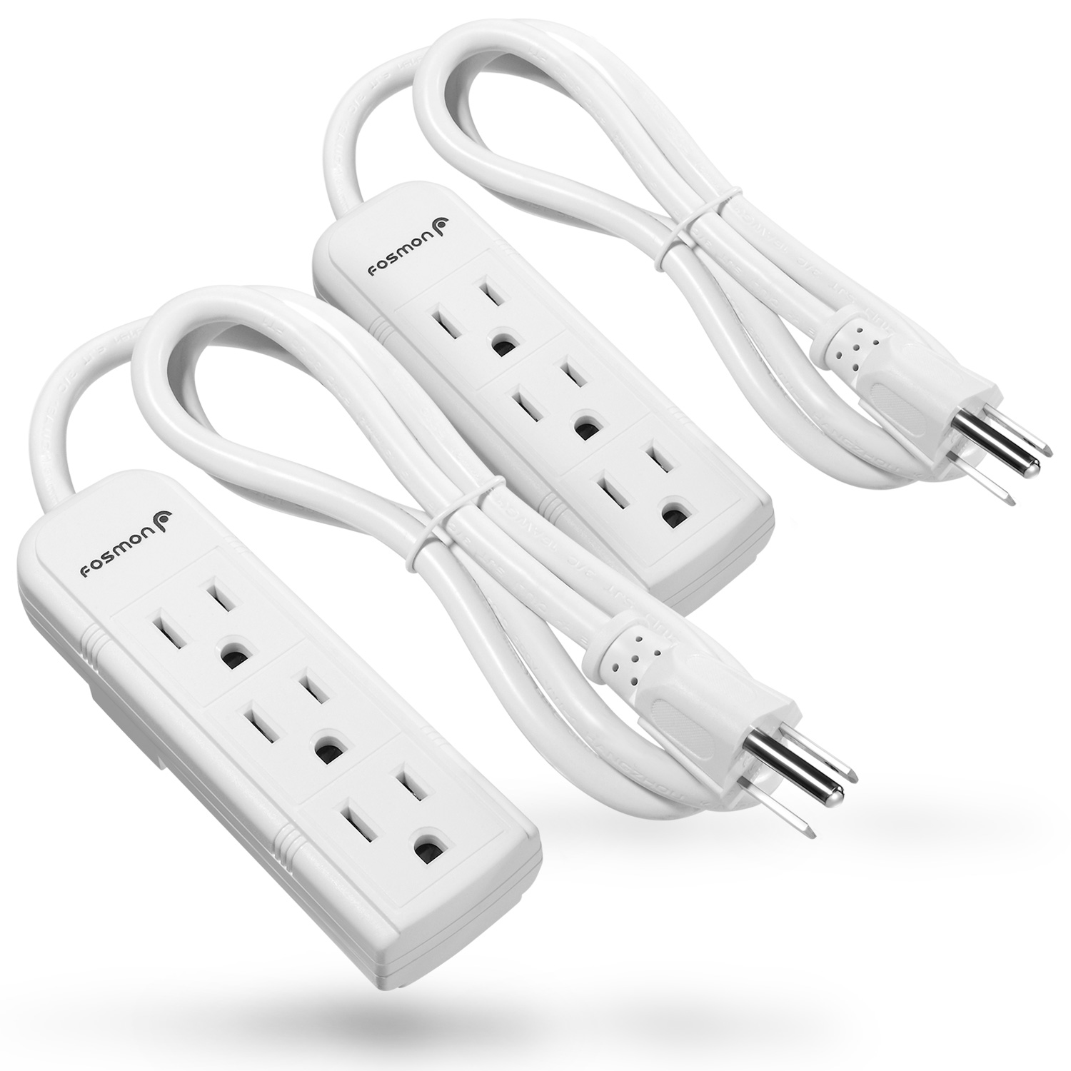 Fosmon 3 Outlet Power Strip Heavy Duty with 3FT Extension Cord, 3 Prong Grounded AC Plug, UL Listed (White) (2Pack)