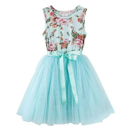 - Designer Kidz Baby Girls Aqua Floral Print Mesh Tutu Easter Dress