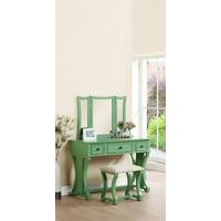Bobkona 3 Fold Mirror Vanity Table with Stool Set, Black