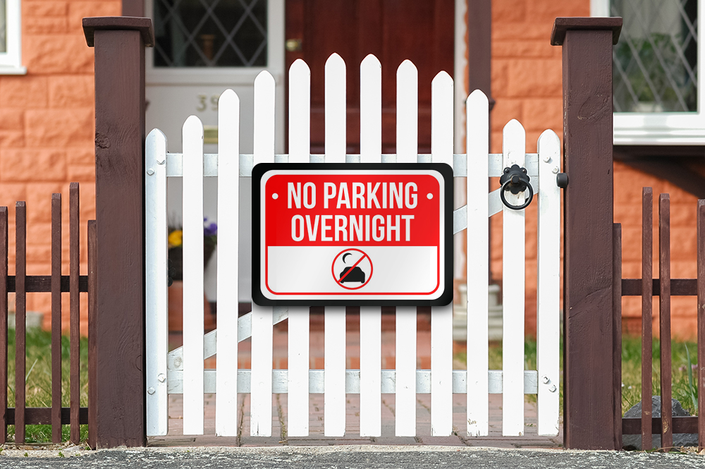 No Overnight Parking Print Red White and Black Notice Parking Plastic Small Sign 7.5x10.5 Inch 6 Pack of Signs
