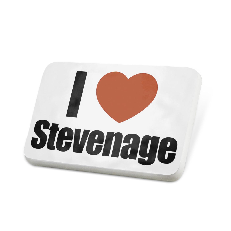 Porcelein Pin I Love Stevenage region: East of England, England Lapel Badge – NEONBLOND