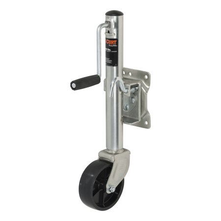 "Curt Manufacturing Cur28112 Bolt-On Marine Swivel Jack 10# Capacity 6"" Caster Wheel Zinc"