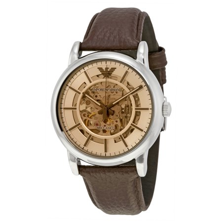 Emporio Armani Men's Luigi Skeleton Dial Brown Leather Strap Automatic Watch AR1982