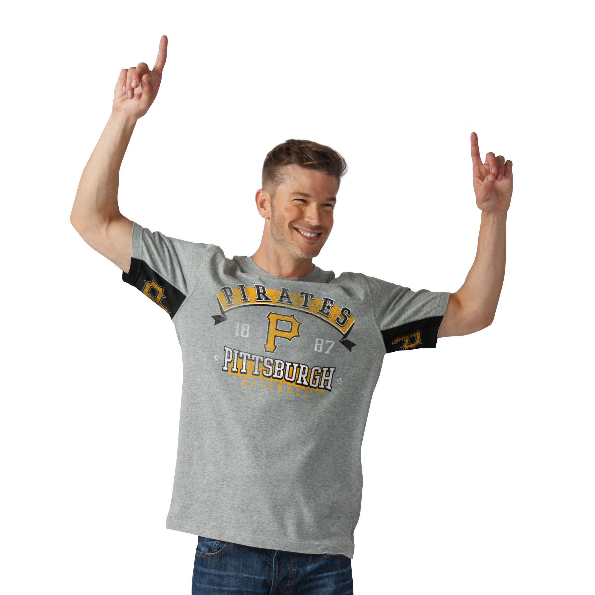 Pittsburgh Pirates G-III Sports by Carl Banks Hands High Power Sweep Fashion T-Shirt - Gray