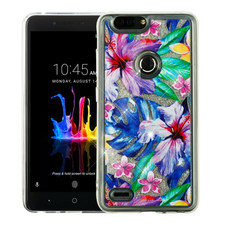 Valor Quicksand Glitter Hibiscus Flowers Brushed Hard Plastic/Soft TPU Rubber Case Cover For ZTE Blade Z Max/Sequoia, Multi-Color (Hibiscus Flowers For Sale)