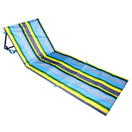 Extra Thick Portable Beach Mat Lounge Chair and Tote by Bo Toys (Blue Stripes)