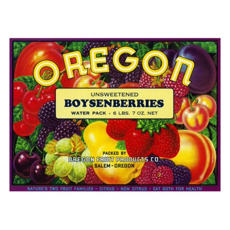 Salem, Oregon, Oregon Boysenberries Label Print Wall Art By Lantern Press - Party Store Salem Oregon