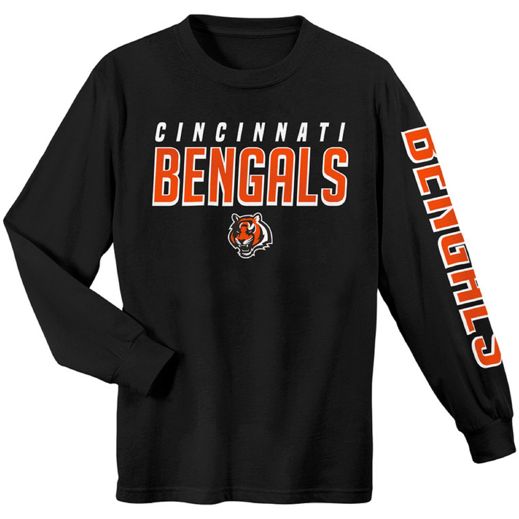 Youth Black Cincinnati Bengals Sleeve Hit Long Sleeve T-Shirt