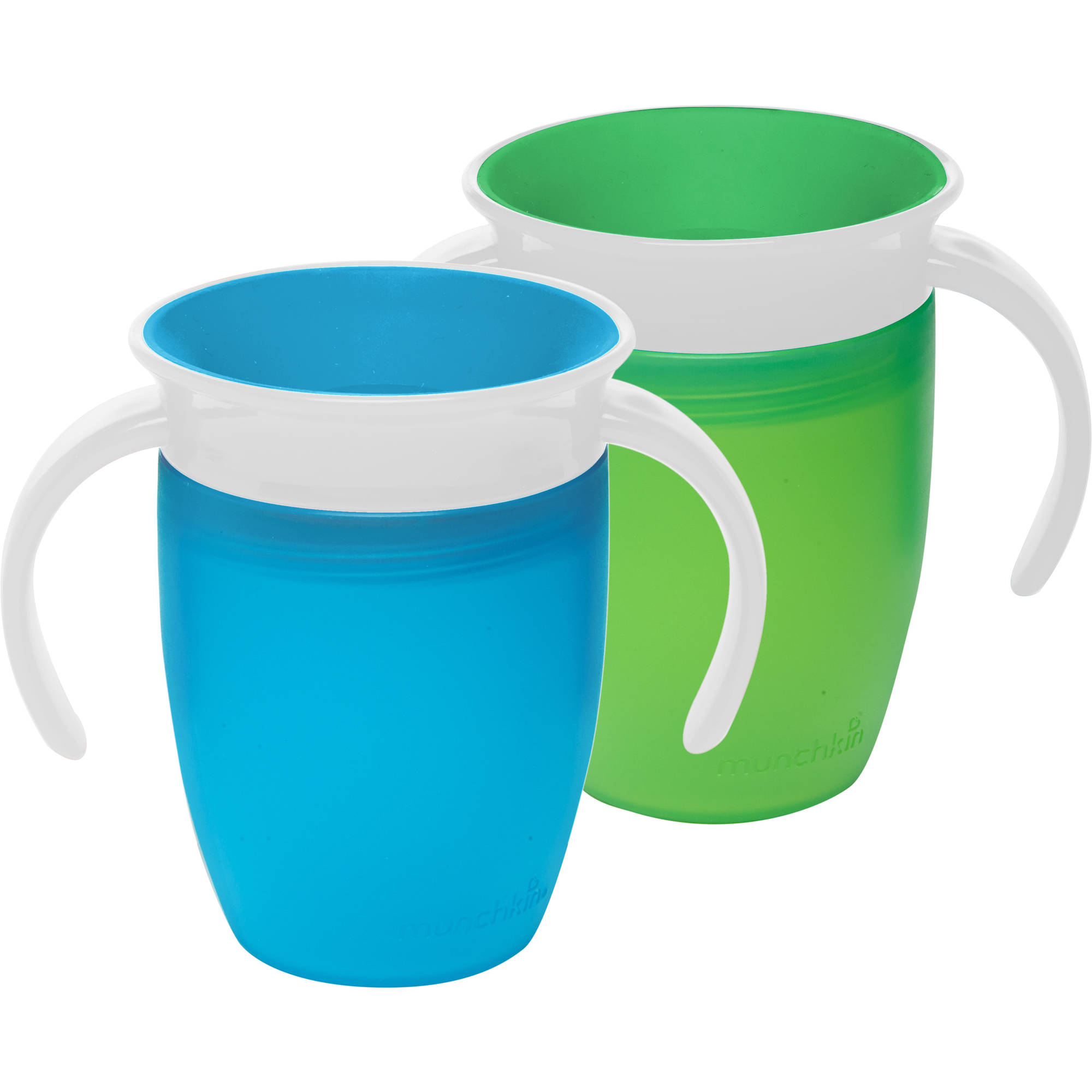 Munchkin Miracle 360 7oz Trainer Cup, BPA-Free, 2-Pack, Green/Blue