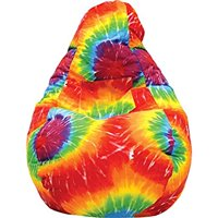 Gold Medal Bean Bags Tear Drop Demin Look Bean Bag with Pocket, Large, Tie Dye