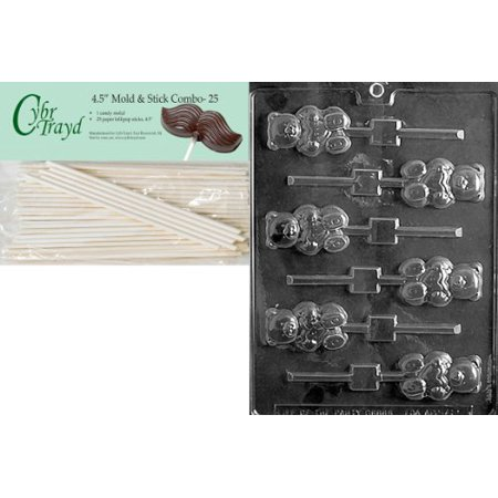 Cybrtrayd 45St25-V111 Teddy with Heart Lolly Valentine Chocolate Candy Mold with 25 4.5-Inch Lollipop Sticks