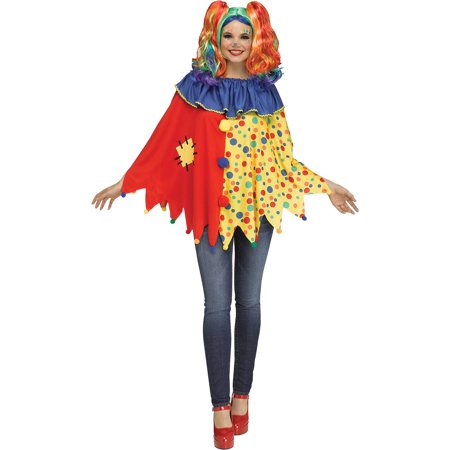 Womens Multicolored Spotted Clown Instant Halloween Circus Easy Costume Poncho