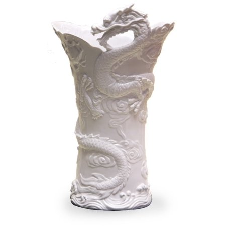 19.25 Inch Large Chinese Dragon Textured Decor Vase, White Color