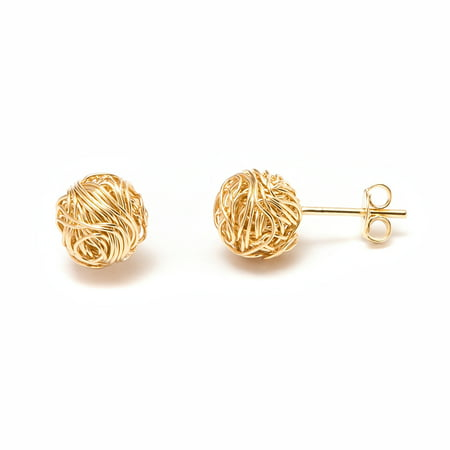 18k Yellow Gold Plated 10mm Woven Love Knot Stud Earrings