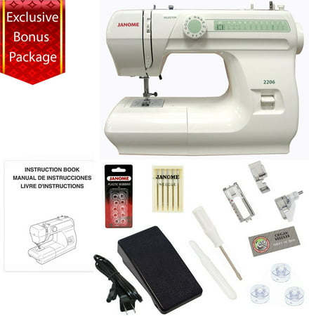 Janome 2206 860spm 6 Stitch Full Size Free Arm Sewing Machine w/ Bonus Package!