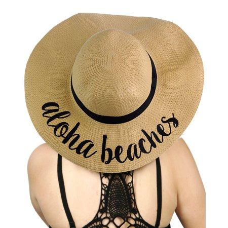 b0c2d18938413 C.C - C.C Women s Paper Weaved Crushable Beach Embroidered Quote Floppy  Brim Sun Hat