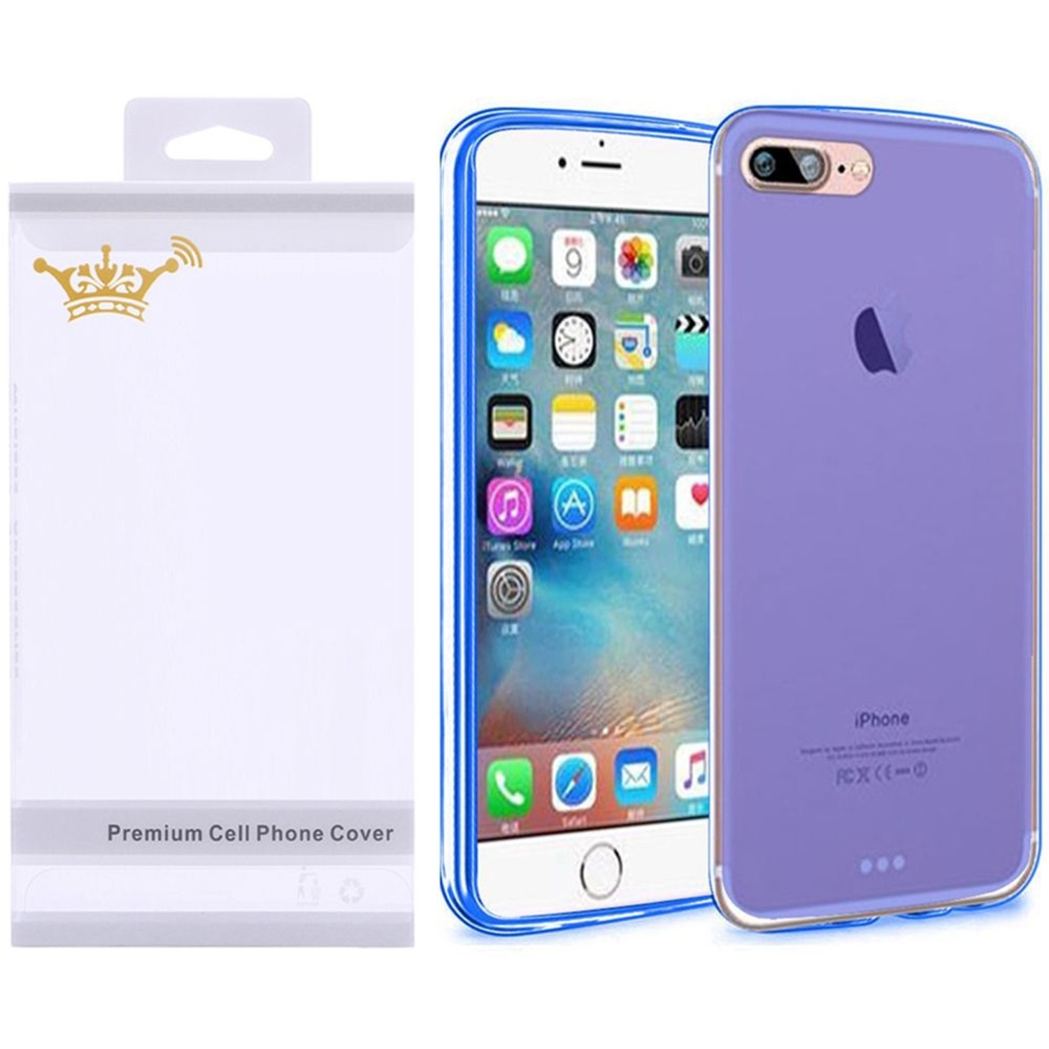 Insten Frosted Gel Case with Screen Protector for Apple iPhone 8 Plus / iPhone 7 Plus - Blue