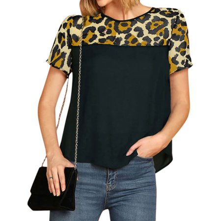 STARVNC Women Leopard Print Stitching Short Sleeve Round Neck Colorblock T-shirt Top
