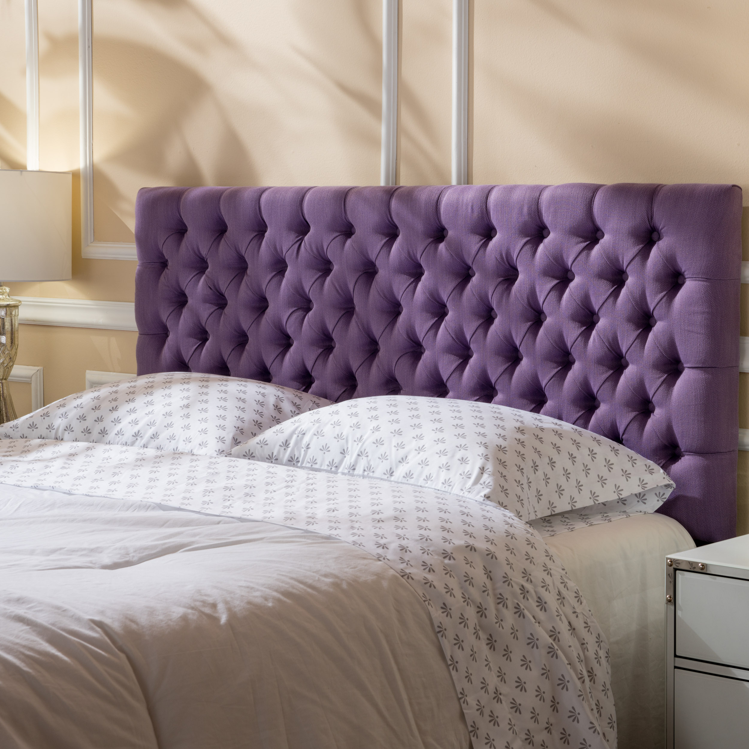 Noble House Jason Fabric Queen/Full Headboard, Light Purple