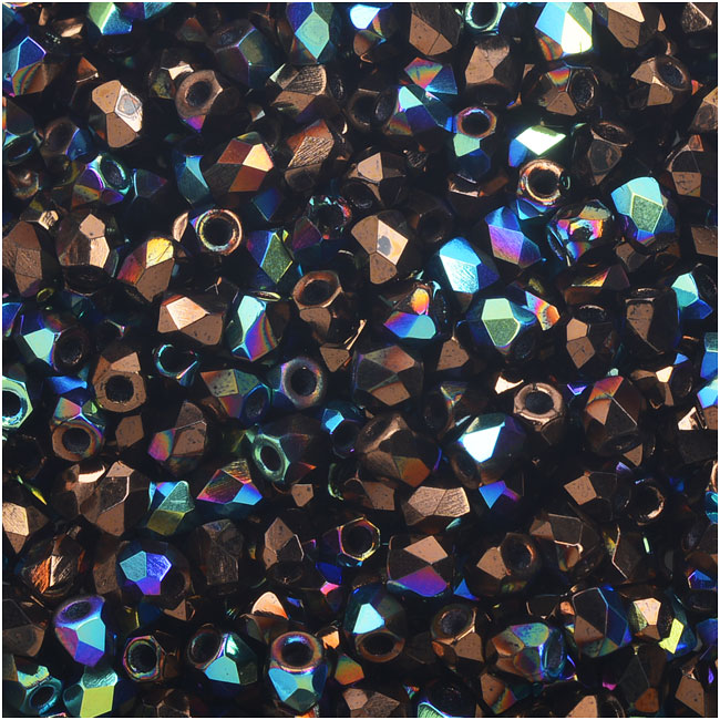 True2 Czech Fire Polished Glass, Faceted Round Beads 2mm, 50 Pieces, Jet Bronze AB