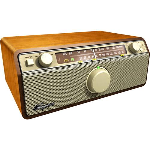 Sangean WR-12 AM/FM, AUX-In Analog Wooden Cabinet Receiver, Walnut