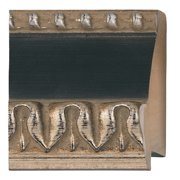 "Picture Frame Moulding (Wood) - Ornate Silver Finish - 2.25"" width - 5/8"" rabbet depth"