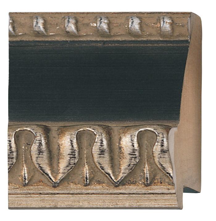 "Picture Frame Moulding (Wood) - Ornate Silver Finish - 2.25"" width - 5/8"" rabbet depth"