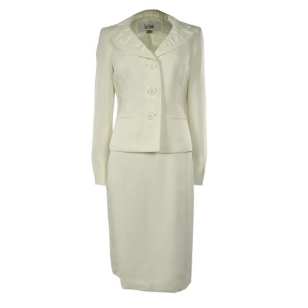 Womens Jacquard Business Suit Pleated Collar Jacket & Skirt Set