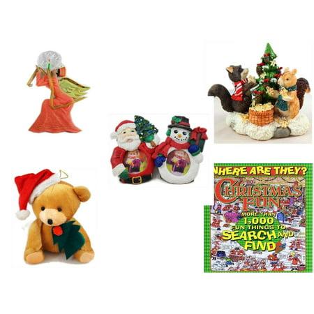 Gingerbread Teddy - Christmas Fun Gift Bundle [5 Piece] - Egyptian Pharaoh Angel Ornament - Forest Friends Gingerbread Tree Resin Figurine - Santa & Snowman Photo Holders 1.5