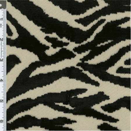 Cut Velvet Fabric (Black/White Tiger Print Cut Velvet Upholstery Fabric, Fabric Sold By the Yard)