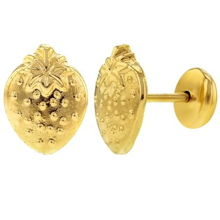 14k Gold Plated Small Strawberry Safety Backs Earrings Infants Baby S