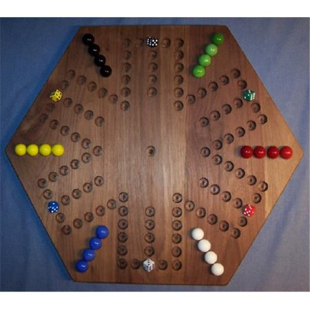 THE PUZZLE-MAN TOYS W-1938 Wooden Marble Game Board - Aggravation - 20 in. Hexagon - 6-Player  6-Hole - Black Walnut ()