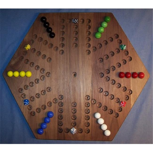 THE PUZZLE-MAN TOYS W-1938 Wooden Marble Game Board - Aggravation - 20 in. Hexagon - 6-Player  6-Hole - Black Walnut