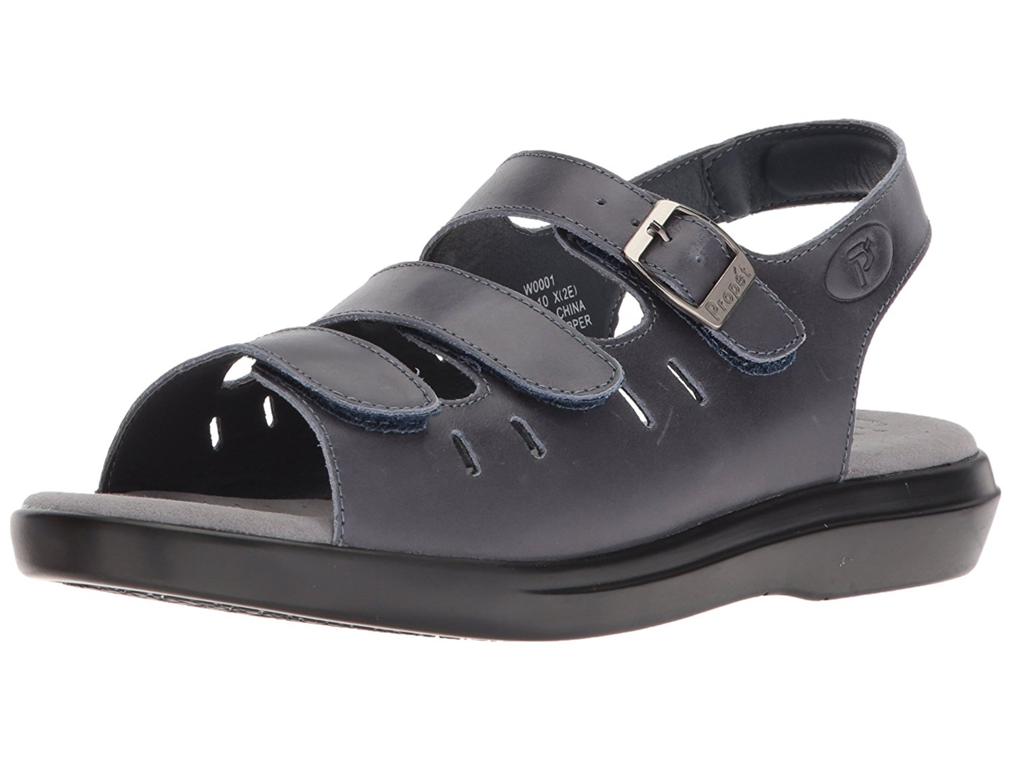 71d5cd518b1dae Propét Womens Breeze Walker Leather Open Toe Casual Slingback