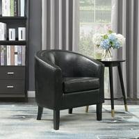Belleze Club Chair Side Accent Elegance Faux Leather, Black