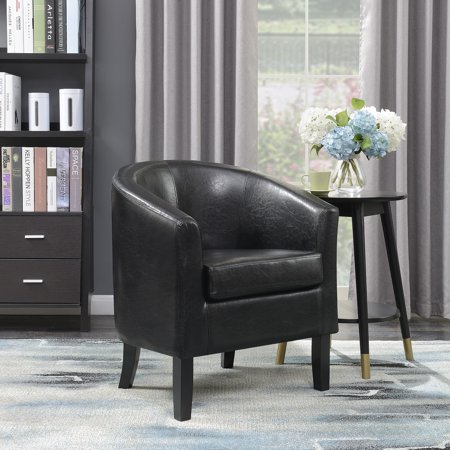 Belleze Club Chair Side Accent Elegance Faux Leather, Black Eco Leather Club Chair